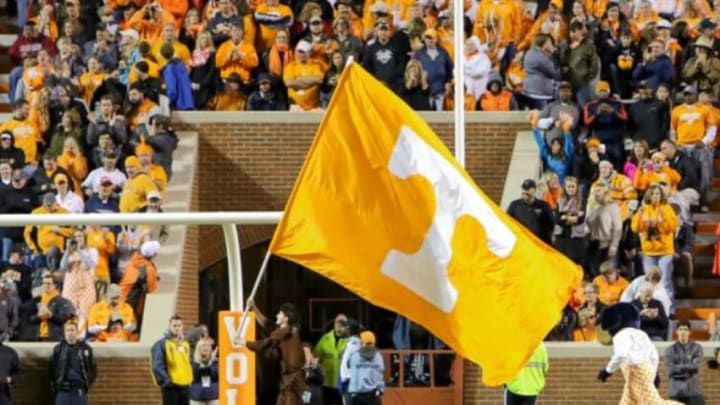 Nov 7, 2015; Knoxville, TN, USA; General view of flag after a touchdown against the South Carolina Gamecocks at Neyland Stadium. Mandatory Credit: Randy Sartin-USA TODAY Sports. Tennessee won 27 to 24.