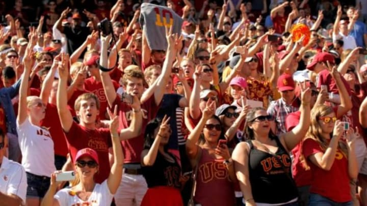 Sep 6, 2014; Stanford, CA, USA; Fans of the USC Trojans celebrate after the Trojans defeated the Stanford Cardinal 13-10 at Stanford Stadium. Mandatory Credit: Cary Edmondson-USA TODAY Sports
