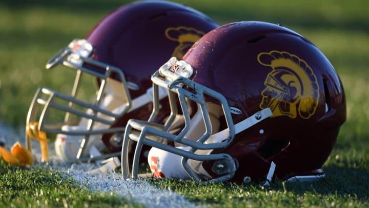 Mar 8, 2016; Los Angeles, CA, USA; Southern California Trojans football helmets during spring practice at Howard Jones Field. Mandatory Credit: Kirby Lee-USA TODAY Sports