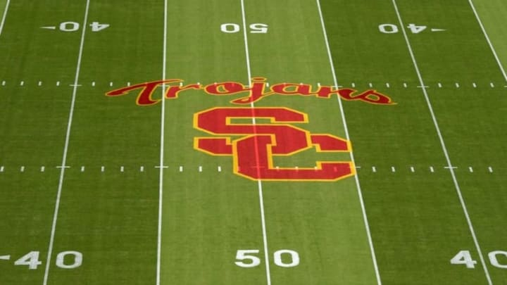Sep 19, 2015; Los Angeles, CA, USA; General view of Southern California Trojans logo at midfield before the game against the Stanford Cardinal at Los Angeles Memorial Coliseum. Mandatory Credit: Kirby Lee-USA TODAY Sports