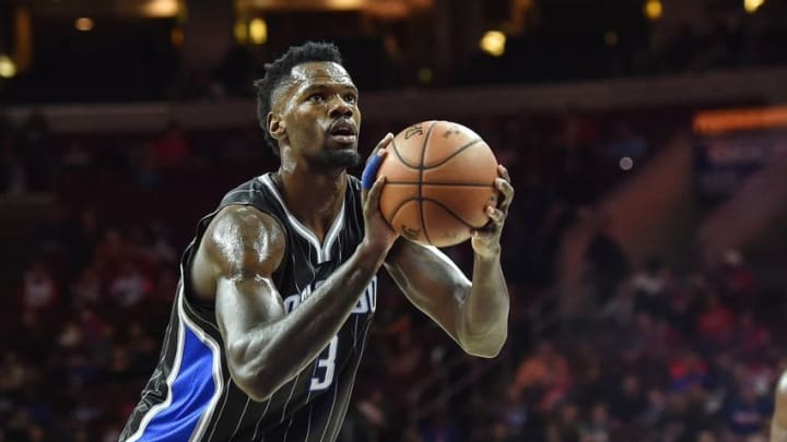 Nov 7, 2015; Philadelphia, PA, USA; Orlando Magic center Dewayne Dedmon (3) shoots from the foul line during the second quarter of the game against the Philadelphia 76ers at the Wells Fargo Center. Mandatory Credit: John Geliebter-USA TODAY Sports