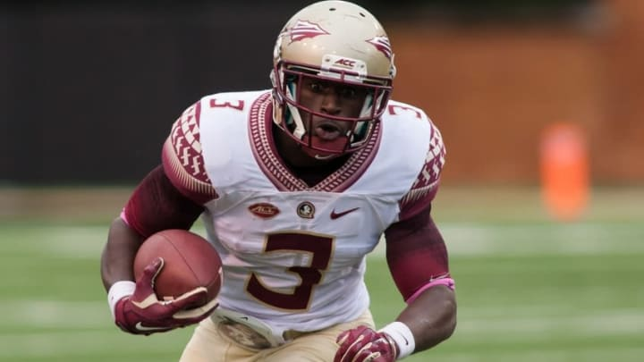 Oct 3, 2015; Winston-Salem, NC, USA; Florida State Seminoles wide receiver Jesus Wilson (3) runs the ball during the third quarter against the Wake Forest Demon Deacons at BB&T Field. Florida State defeated Wake Forest 24-16. Mandatory Credit: Jeremy Brevard-USA TODAY Sports