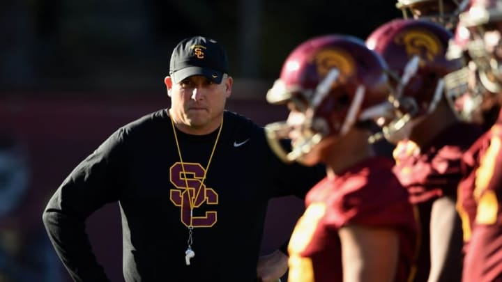 Mar 8, 2016; Los Angeles, CA, USA; Southern California Trojans coach Clay Helton during spring practice at Howard Jones Field. Mandatory Credit: Kirby Lee-USA TODAY Sports