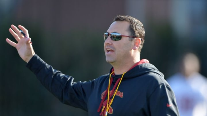 Mar 3, 2015; Los Angeles, CA, USA; Southern California Trojans coach Steve Sarkisian at spring practice at Cromwell Field. Mandatory Credit: Kirby Lee-USA TODAY Sports