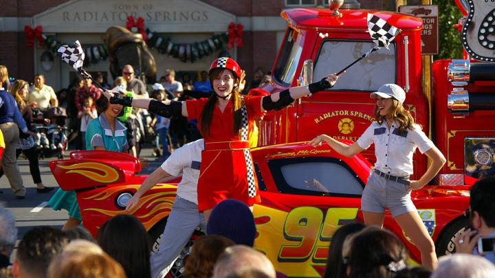 Cars cast members at Disneyland's California Adventure during Rose Bowl week. (Alicia de Artola/Reign of Troy)