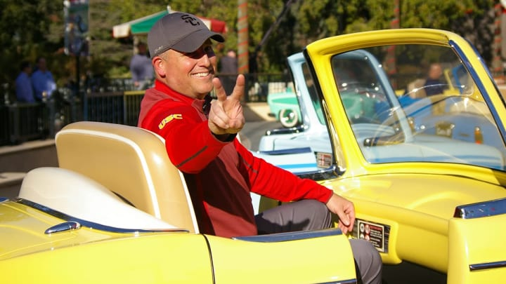USC football coach Clay Helton at Disneyland's California Adventure during Rose Bowl week. (Alicia de Artola/Reign of Troy)