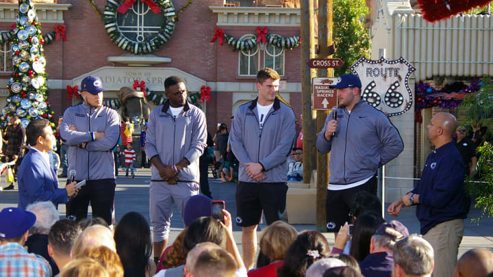 Penn State football players at Disneyland's California Adventure during Rose Bowl week. (Alicia de Artola/Reign of Troy)