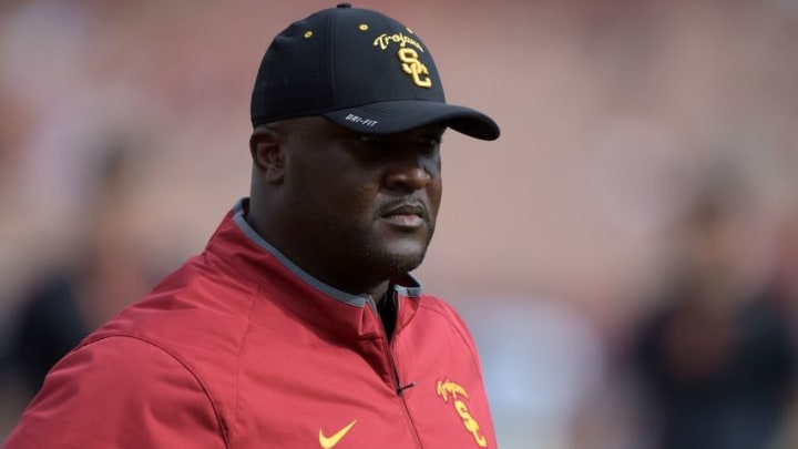 Sep 12, 2015; Los Angeles, CA, USA; Southern California Trojans receivers coach Tee Martin during the game against the Idaho Vandals at Los Angeles Memorial Coliseum. Mandatory Credit: Kirby Lee-USA TODAY Sports