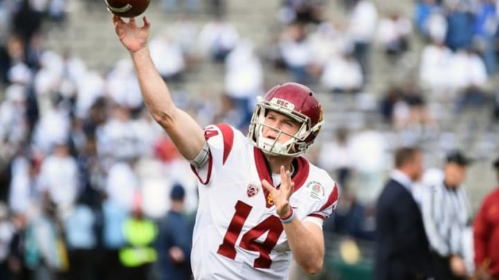 Jan 2, 2017; Pasadena, CA, USA; USC Trojans quarterback Sam Darnold (14) warms up before the game between the Penn State Nittany Lions and the USC Trojans at Rose Bowl. Mandatory Credit: Jayne Kamin-Oncea-USA TODAY Sports