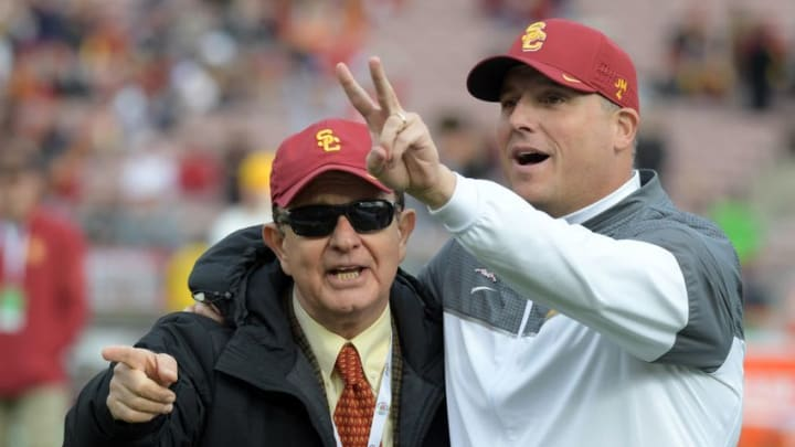 Jan 2, 2017; Pasadena, CA, USA; USC Trojans head coach Clay Helton and USC Trojans school president C.L. Max Nikias before the game between the Penn State Nittany Lions and the USC Trojans at Rose Bowl. Mandatory Credit: Kirby Lee-USA TODAY Sports