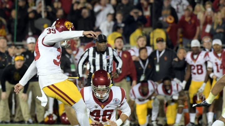 Jan 2, 2017; Pasadena, CA, USA; USC Trojans place kicker Matt Boermeester (39) kicks the game winning field goal against the Penn State Nittany Lions during the fourth quarter of the 2017 Rose Bowl game at Rose Bowl. Mandatory Credit: Kirby Lee-USA TODAY Sports
