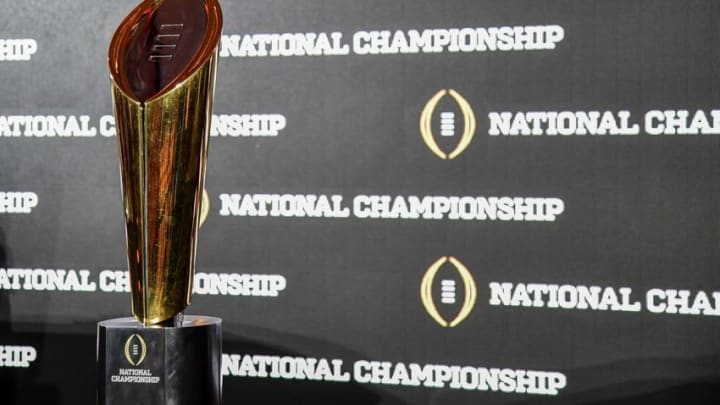 Jan 8, 2017; Tampa, FL, USA; View of the trophy after the head coaches news conference between the Alabama Crimson Tide and the Clemson Tigers at the Tampa Convention Center. Mandatory Credit: John David Mercer-USA TODAY Sports