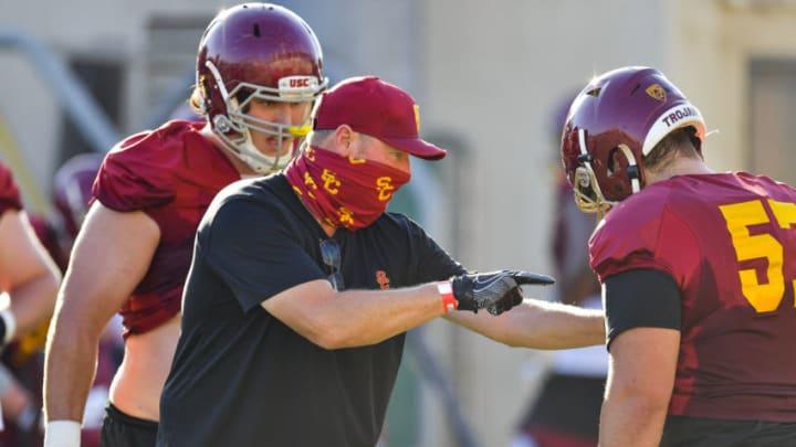 USC football practices in shells on Monday, Oct. 12, 2020 in Los Angeles Calif. (John McGillen via USC Athletics)