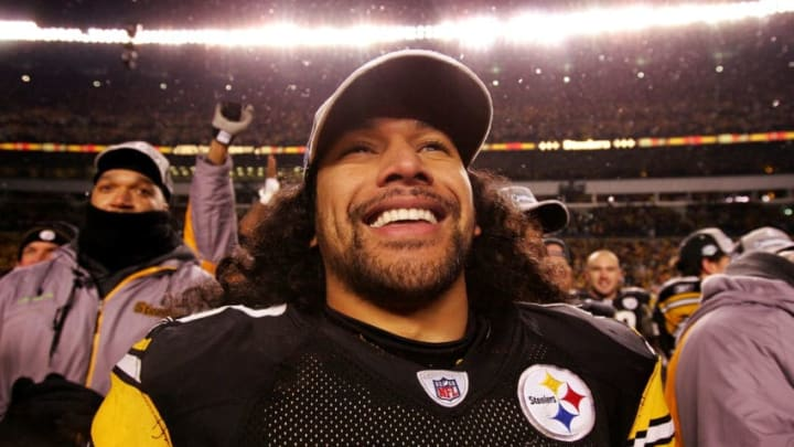 PITTSBURGH - JANUARY 18: Troy Polamalu #43 of the Pittsburgh Steelers celebrates after their 23-14 win against the Baltimore Ravens during the AFC Championship game on January 18, 2009 at Heinz Field in Pittsburgh, Pennsylvania. (Photo by Al Bello/Getty Images)