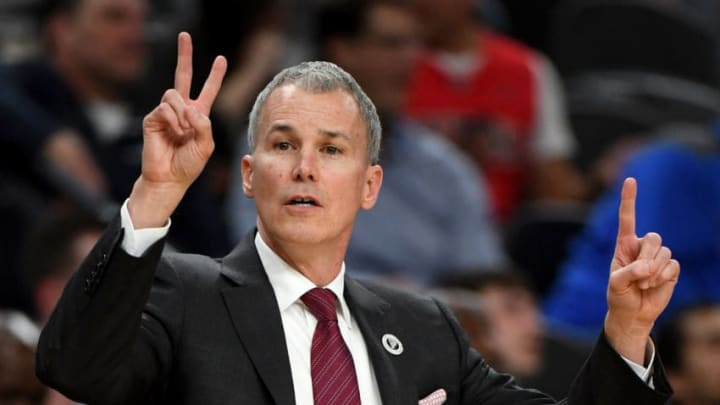 LAS VEGAS, NV - MARCH 09: Head coach Andy Enfield of the USC Trojans signals to his players during a semifinal game of the Pac-12 basketball tournament against the Oregon Ducks at T-Mobile Arena on March 9, 2018 in Las Vegas, Nevada. The Trojans won 74-54. (Photo by Ethan Miller/Getty Images)