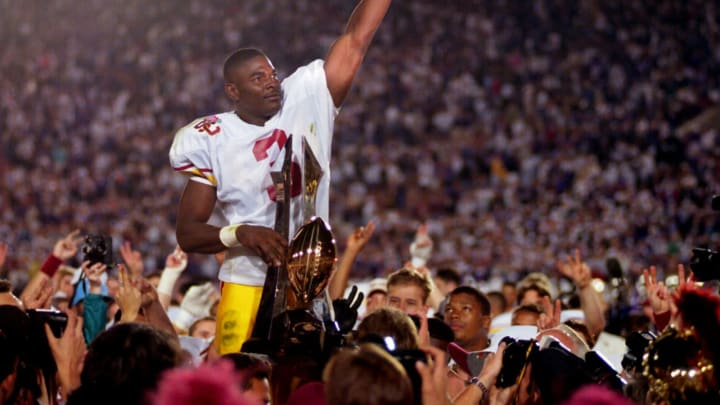 Wide receiver Keyshawn Johnson stands as a Trojan great. (Stephen Dunn/ALLSPORT)