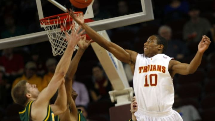 University of Southern California's DeMar DeRozan (10) battles for a rebound during first half action of USC's 61–57 win over North Dakota State University in NCAA action at USC's Galen Center in Los Angeles, Ca., Dec. 20, 2008. (Photo by Jay L. Clendenin/Los Angeles Times via Getty Images)