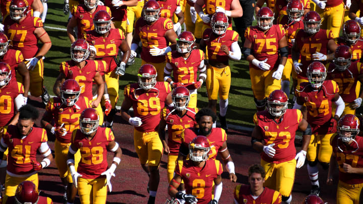 LOS ANGELES, CA – NOVEMBER 23: USC Trojans head into the locker room after warming up for the game against the UCLA Bruins at the Los Angeles Memorial Coliseum on November 23, 2019 in Los Angeles, California. (Photo by Jayne Kamin-Oncea/Getty Images)