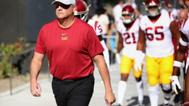 Clay Helton has a credibility problem with USC football. (Christian Petersen/Getty Images)