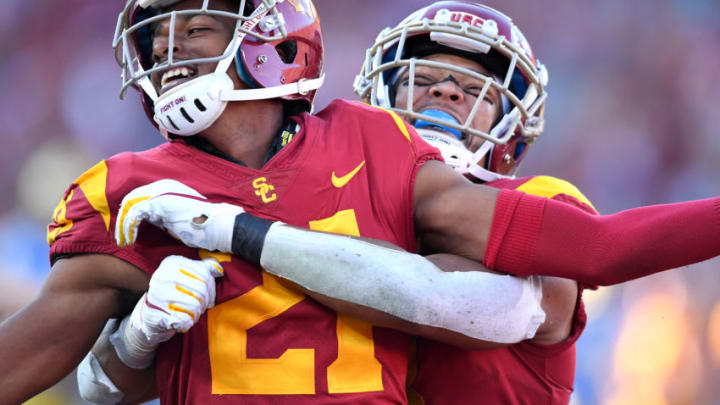 Tyler Vaughns and Amon-Ra St. Brown of USC football. (Jayne Kamin-Oncea/Getty Images)