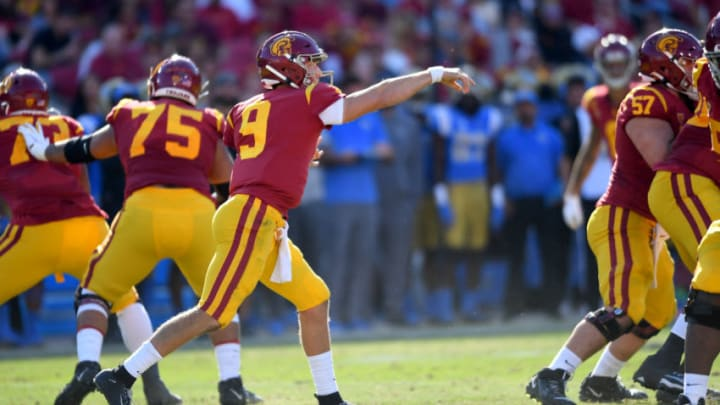 LOS ANGELES, CA - NOVEMBER 23: Quarterback Kedon Slovis #9 of the USC Trojans passes the ball in the first half of the game against the UCLA Bruins at the Los Angeles Memorial Coliseum on November 23, 2019 in Los Angeles, California. (Photo by Jayne Kamin-Oncea/Getty Images)
