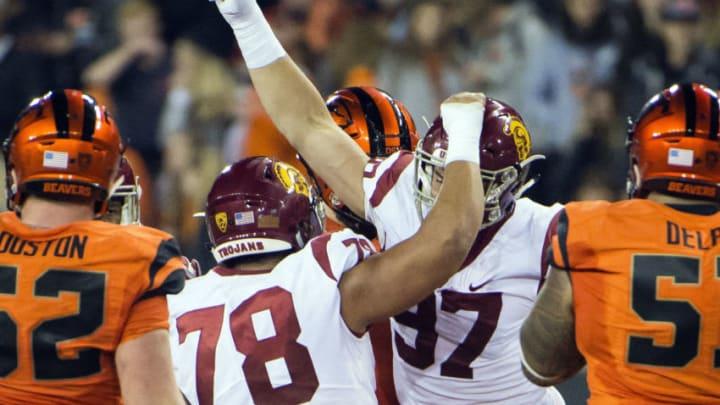USC football defensive lineman Jacob Lichtenstein. (Troy Wayrynen-USA TODAY Sports)
