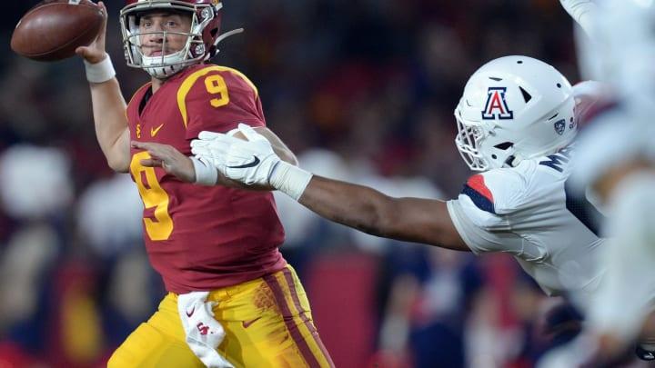 USC football quarterback Kedon Slovis. (Gary A. Vasquez-USA TODAY Sports)