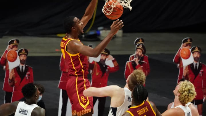 Dec 1, 2020; Uncasville, CT, USA; USC Trojans forward Evan Mobley (4) makes the basket against the Brigham Young Cougars in the first half at Mohegan Sun Arena. Mandatory Credit: David Butler II-USA TODAY Sports