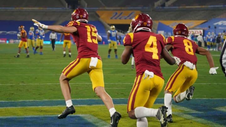 USC football celebrating. (Kirby Lee-USA TODAY Sports)