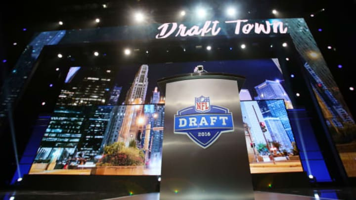 Apr 28, 2016; Chicago, IL, USA; A general view of the stage and podium before the 2016 NFL Draft at the Auditorium Theatre. Mandatory Credit: Jerry Lai-USA TODAY Sports