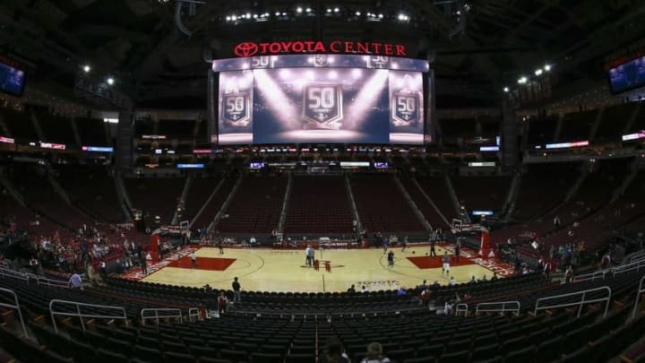 Oct 30, 2016; Houston, TX, USA; General view inside Toyota Center before a game between the Houston Rockets and the Dallas Mavericks. Mandatory Credit: Troy Taormina-USA TODAY Sports