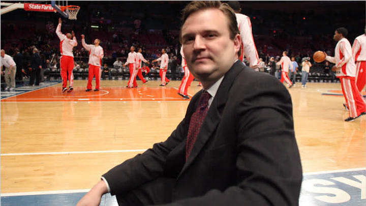 Rockets GM Daryl Morey sits courtside at Madison Square Garden