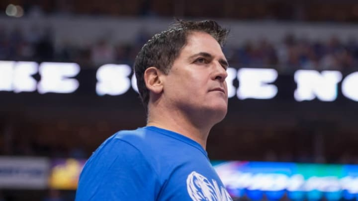 May 2, 2014; Dallas, TX, USA; Dallas Mavericks owner Mark Cuban during the game against the San Antonio Spurs in the first round of the 2014 NBA Playoffs at American Airlines Center. The Mavericks defeated the Spurs 113-111. Mandatory Credit: Jerome Miron-USA TODAY Sports