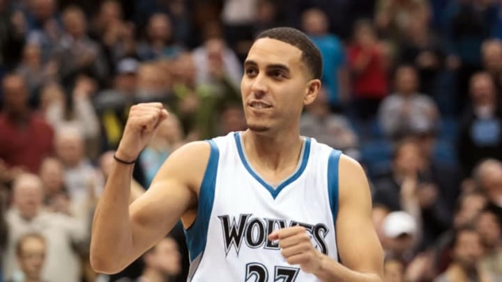 Feb 20, 2015; Minneapolis, MN, USA; Minnesota Timberwolves guard Kevin Martin (23) celebrates in the fourth quarter against the Phoenix Suns at Target Center. The Minnesota Timberwolves beat the Phoenix Suns 111-109. Mandatory Credit: Brad Rempel-USA TODAY Sports