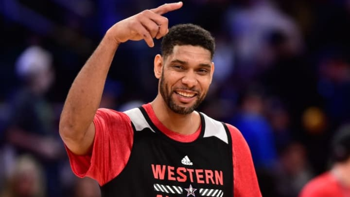 Feb 14, 2015; New York, NY, USA; Western Conference forward Tim Duncan of the San Antonio Spurs (21) smiles during practice at Madison Square Garden. Mandatory Credit: Bob Donnan-USA TODAY Sports
