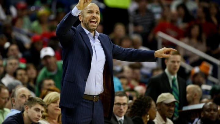 Mar 17, 2015; New Orleans, LA, USA; Milwaukee Bucks head coach Jason Kidd against the New Orleans Pelicans during the first half of game at the Smoothie King Center. Mandatory Credit: Derick E. Hingle-USA TODAY Sports