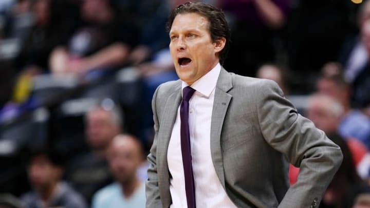 Mar 27, 2015; Denver, CO, USA; Utah Jazz head coach Quin Snyder in the second quarter against the Denver Nuggets at Pepsi Center. Mandatory Credit: Isaiah J. Downing-USA TODAY Sports