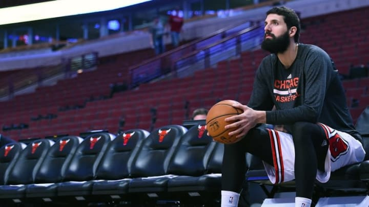 Mar 20, 2015; Chicago, IL, USA; Chicago Bulls forward Nikola Mirotic (44) before the game against the Toronto Raptors at the United Center. Mandatory Credit: Mike DiNovo-USA TODAY Sports
