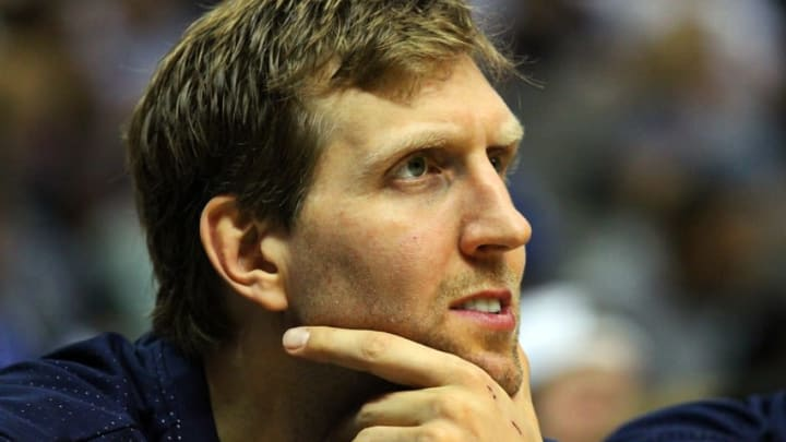 Oct 21, 2015; Dallas, TX, USA; Dallas Mavericks forward Dirk Nowitzki (41) on the bench during a game against the Phoenix Suns at American Airlines Center. Phoenix won 99-87. Mandatory Credit: Ray Carlin-USA TODAY Sports