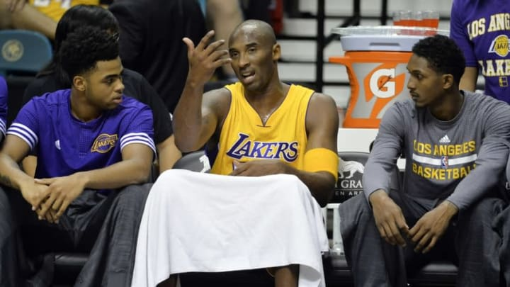 Oct 13, 2015; Las Vegas, NV, USA; Los Angeles Lakers guard Kobe Bryant (24) reacts during the game against the Sacramento Kings at the MGM Grand Garden Arena. Mandatory Credit: Kirby Lee-USA TODAY Sports