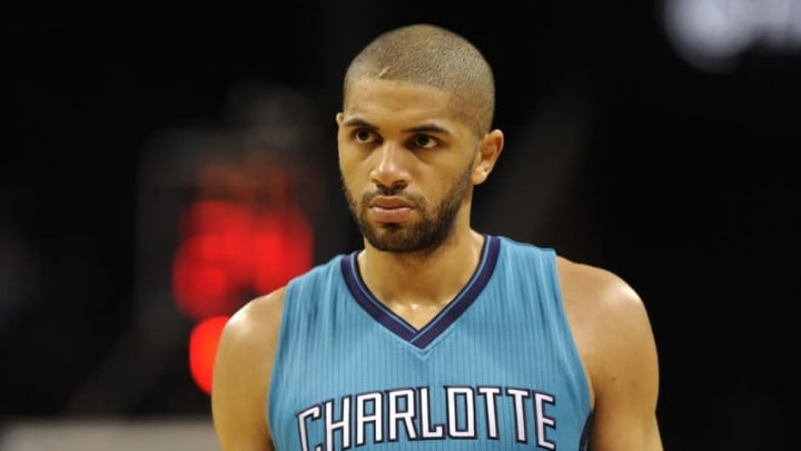 Dec 12, 2015; Charlotte, NC, USA; Charlotte Hornets guard forward Nicolas Batum (5) during the second half of the game against the Boston Celtics at Time Warner Cable Arena. Celtics win 98-93. Mandatory Credit: Sam Sharpe-USA TODAY Sports