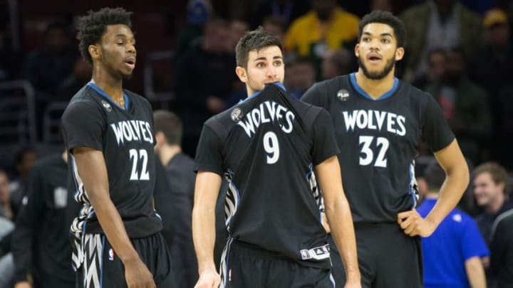 Jan 4, 2016; Philadelphia, PA, USA; Minnesota Timberwolves guard Ricky Rubio (9) and guard Andrew Wiggins (22) and center Karl-Anthony Towns (32) react as time winds down on a loss against the Philadelphia 76ers at Wells Fargo Center. The 76ers won 109-99. Mandatory Credit: Bill Streicher-USA TODAY Sports