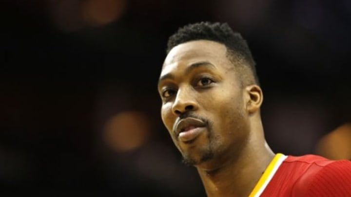 Dec 31, 2015; Houston, TX, USA; Houston Rockets center Dwight Howard (12) reacts after a foul is called against the Golden State Warriors in the second half at Toyota Center. The Warriors won 114 to 110. Mandatory Credit: Thomas B. Shea-USA TODAY Sports