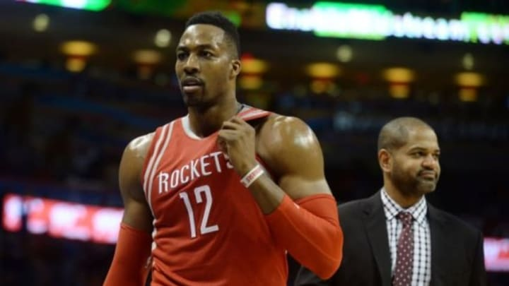 Jan 29, 2016; Oklahoma City, OK, USA; Houston Rockets center Dwight Howard (12) leaves the floor after being called for a second technical foul in action against the Oklahoma City Thunder at Chesapeake Energy Arena. Mandatory Credit: Mark D. Smith-USA TODAY Sports