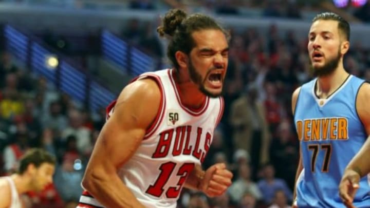 Dec 2, 2015; Chicago, IL, USA; Chicago Bulls center Joakim Noah (13) reacts after dunking the ball during the game against the Denver Nuggets at United Center. Mandatory Credit: Caylor Arnold-USA TODAY Sports