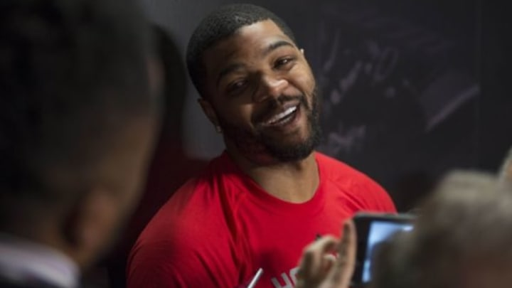 Jan 22, 2016; Houston, TX, USA; Houston Rockets center Josh Smith (5) is interviewed by the media after rejoining the Rockets via a trade with the Los Angeles Clippers. Mandatory Credit: Jerome Miron-USA TODAY Sports
