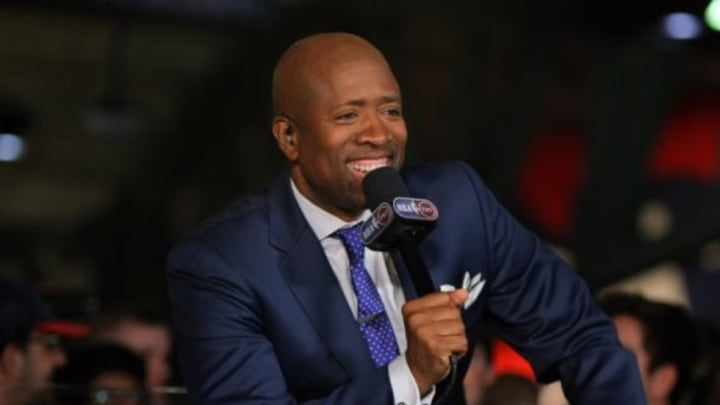 May 20, 2015; Atlanta, GA, USA; TNT television personality Kenny Smith prior to game one of the Eastern Conference Finals of the NBA Playoffs between the Atlanta Hawks and the Cleveland Cavaliers at Philips Arena. Mandatory Credit: Brett Davis-USA TODAY Sports