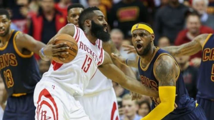 Mar 1, 2015; Houston, TX, USA; Houston Rockets guard James Harden (13) and Cleveland Cavaliers forward LeBron James (23) during the game at Toyota Center. Mandatory Credit: Troy Taormina-USA TODAY Sports