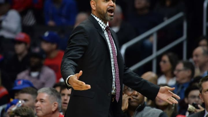 Jan 18, 2016; Los Angeles, CA, USA; Houston Rockets head coach J.B. Bickerstaff reacts during an NBA basketball game against the Los Angeles Clippers at Staples Center. Mandatory Credit: Kirby Lee-USA TODAY Sports