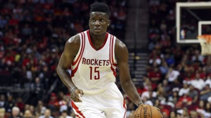 Nov 4, 2015; Houston, TX, USA; Houston Rockets center Clint Capela (15) dribbles the ball against the Orlando Magic during the second quarter at Toyota Center. Mandatory Credit: Troy Taormina-USA TODAY Sports